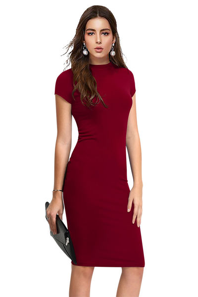 Picture of Cap Sleeve Knee length Bodycon Dress