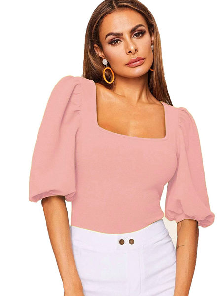 Picture of Puff sleeve Square neck Women's Top